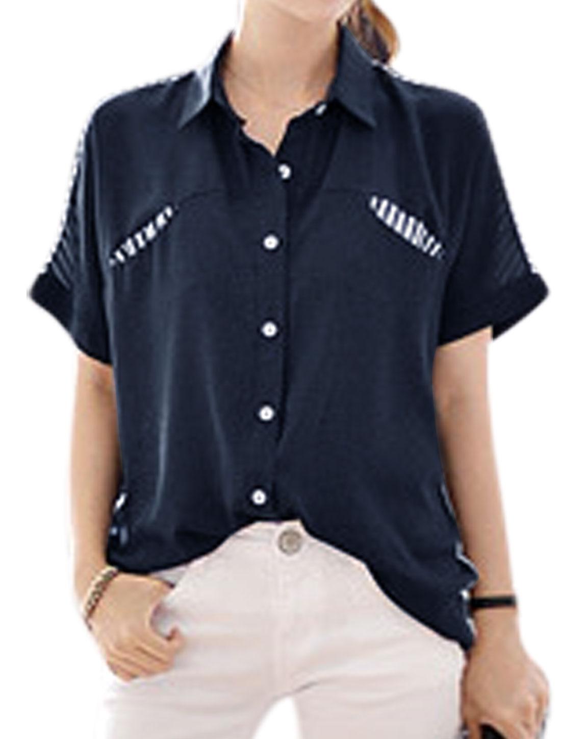 Women Point Collar Short Batwing Sleeves Stripes Chiffon Shirt Blue M