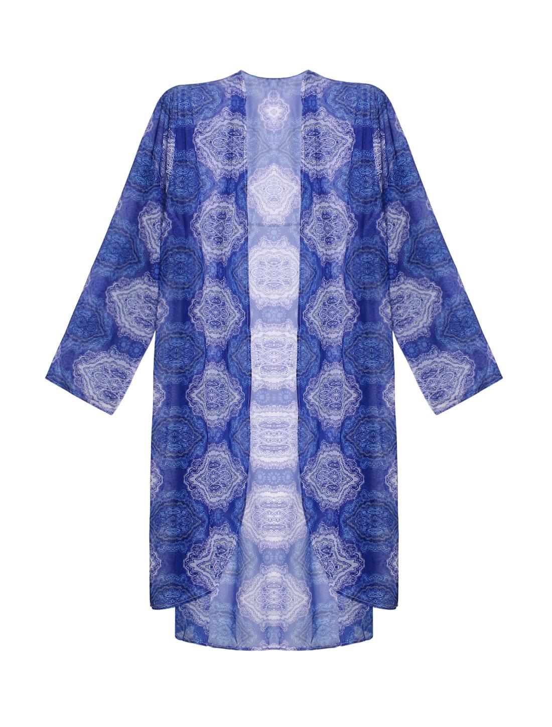 Women Porcelain Prints Sheer Beachwear Chiffon Tunic Cardigan Blue S
