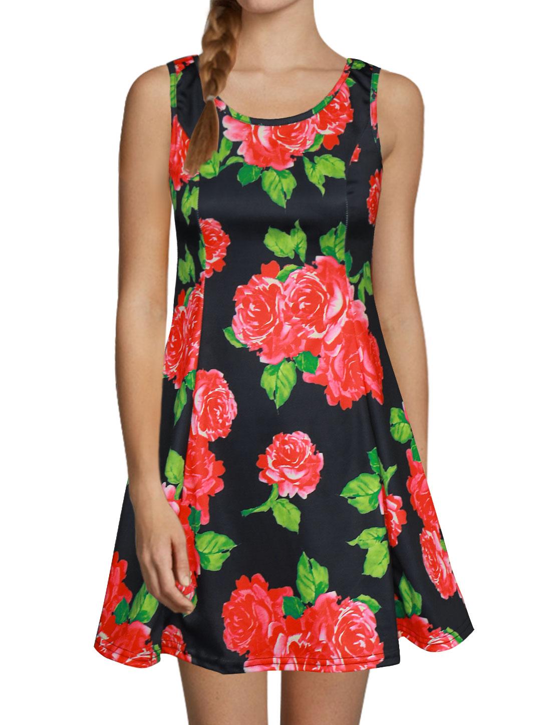 Women Scoop Neck Sleeveless Floral Prints Mini A Line Dress Black XS