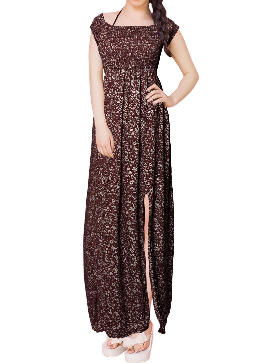 Women Smocked Upper Double Slits Floral Long Empire Waist Dress Burgundy S