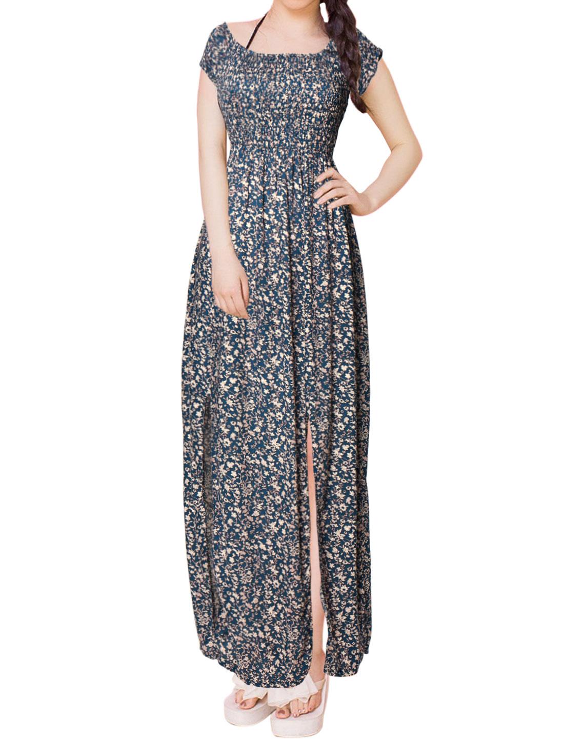 Women Smocked Upper Double Slits Floral Long Empire Waist Dress Blue S