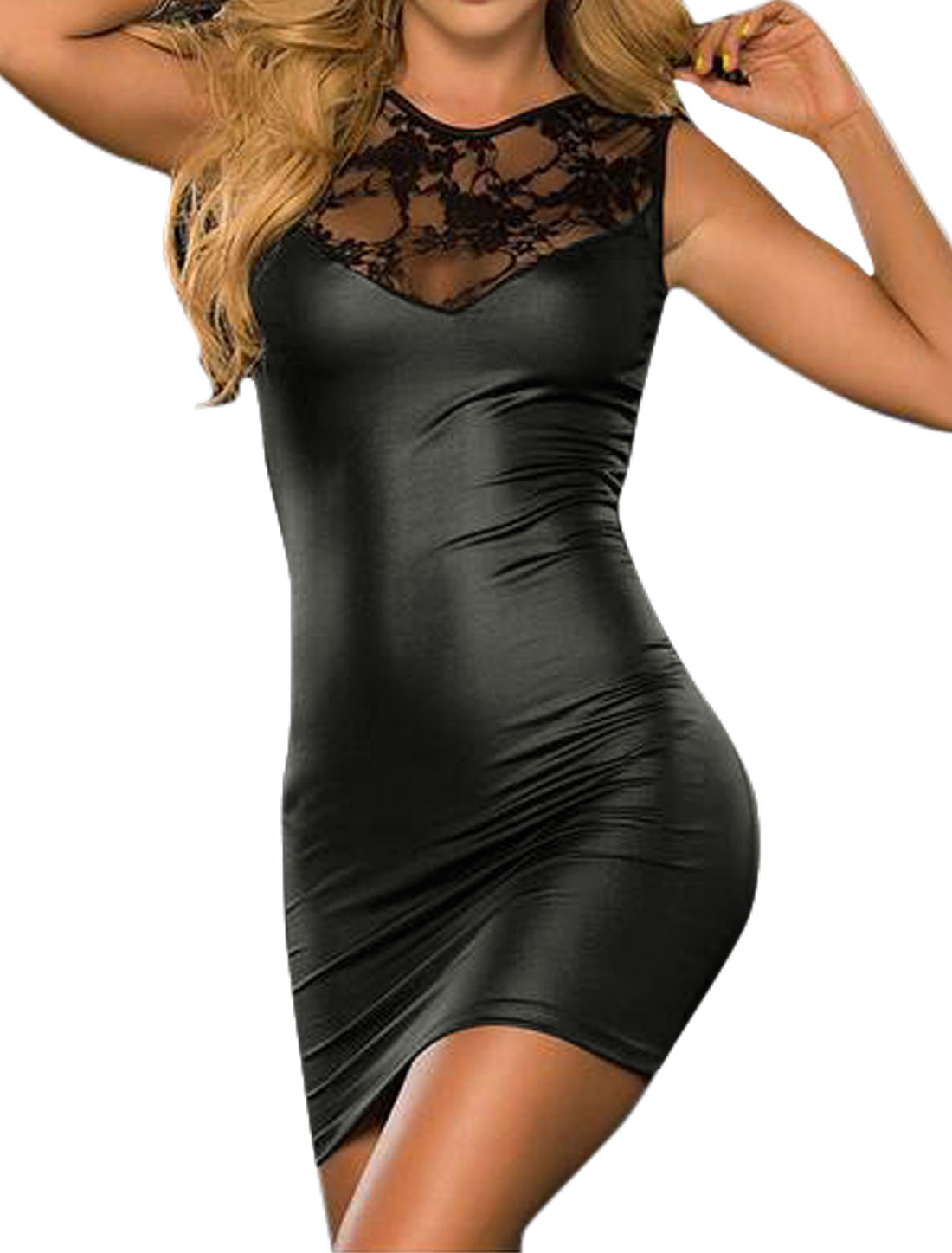 Women Crew Neck Sleeveless Lace Panel Slim Fit Mini Dress Black M