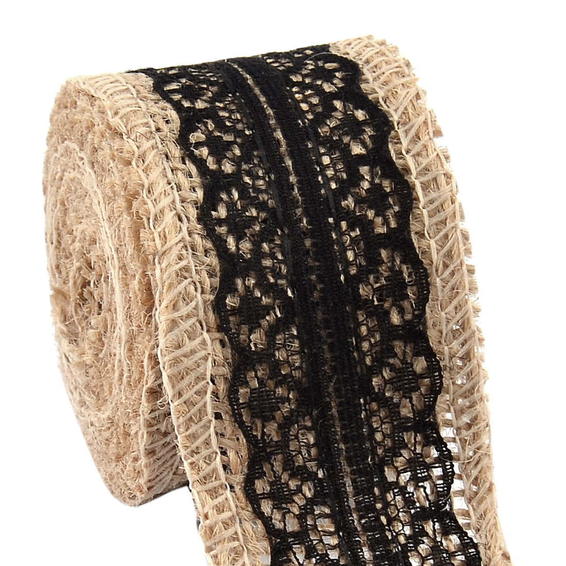 Burlap Belt Strap String Crafting Lace Ribbon Roll Black 2.2 Yards for Wedding Decor