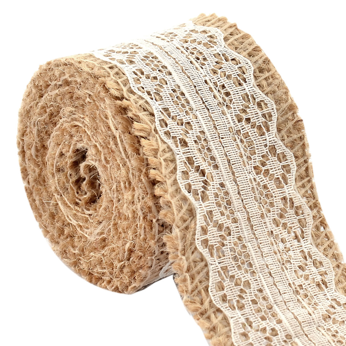 Burlap Belt Strap String Crafting Lace Ribbon Roll White 2.2 Yards for Wedding Decor