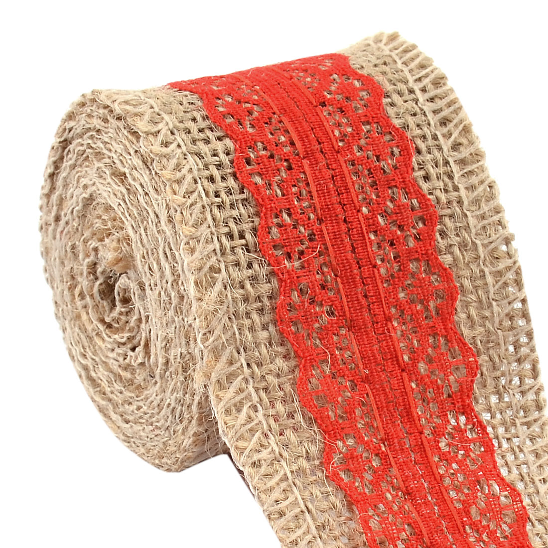 Wedding Burlap Belt Strap String Crafting Lace Trim Edge Ribbon Roll Red 2.2 Yards