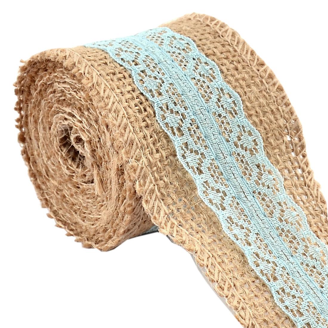 Wedding Burlap Belt Strap String Crafting Lace Trim Edge Ribbon Roll Blue 2.2 Yards