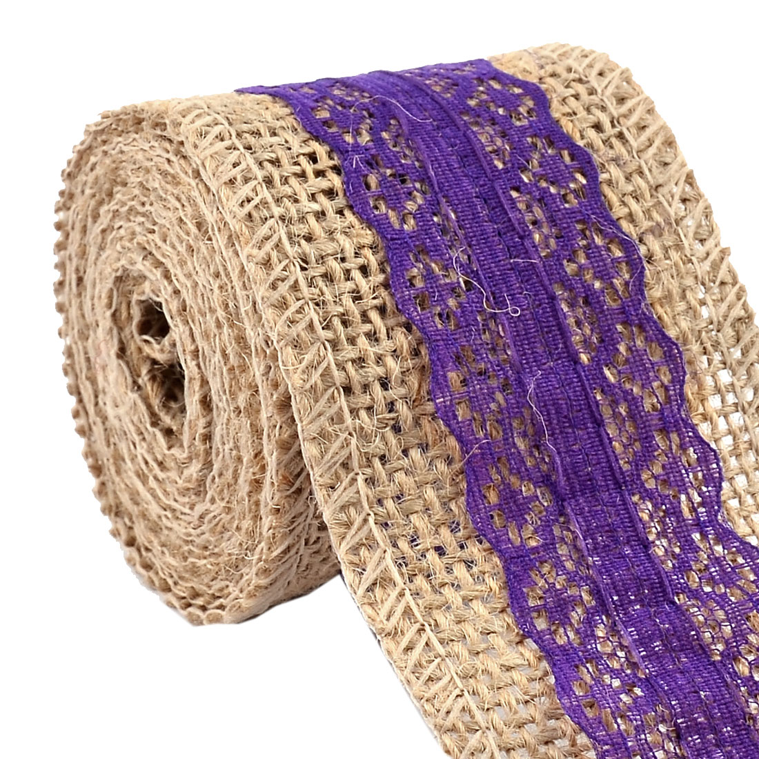 Wedding Burlap Belt Strap String Crafting Lace Trim Edge Ribbon Roll Purple 2.2 Yards