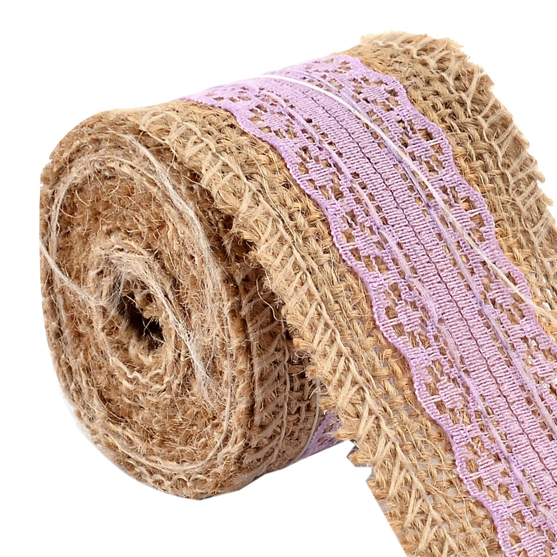 Wedding Burlap Belt Strap String Crafting Lace Trim Edge Ribbon Roll Light Purple 2.2 Yards