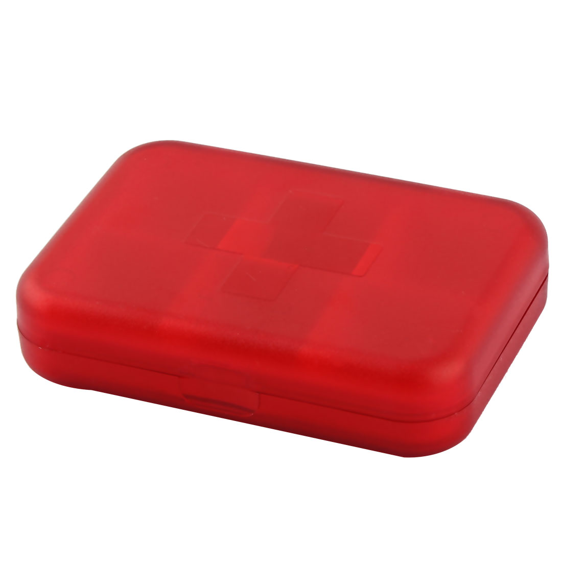 Office Travel Plastic Square Shaped Tablet Medicinal Pills Boxes Cases Holder Red