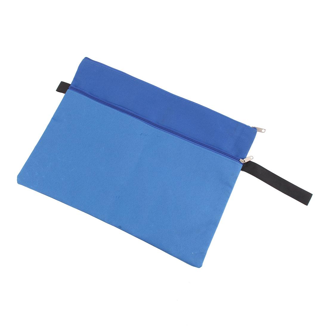 Office Zipper Closure A4 Paper Document File Bag Folder Holder Pouch Blue