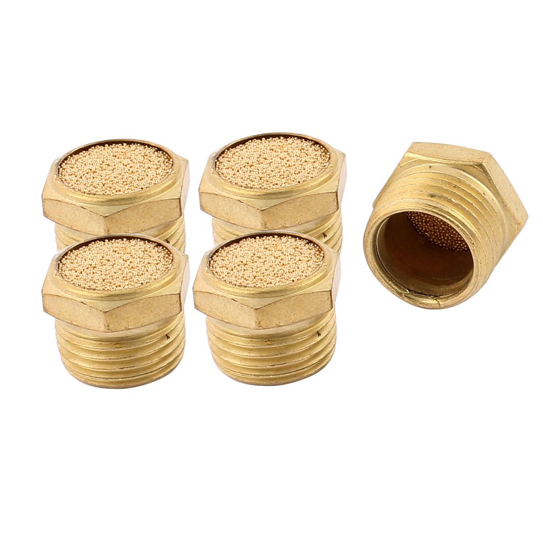 1/2BSP Male Thread Brass Air Pneumatic Noise Reduce Filter Exhaust Muffler 5Pcs