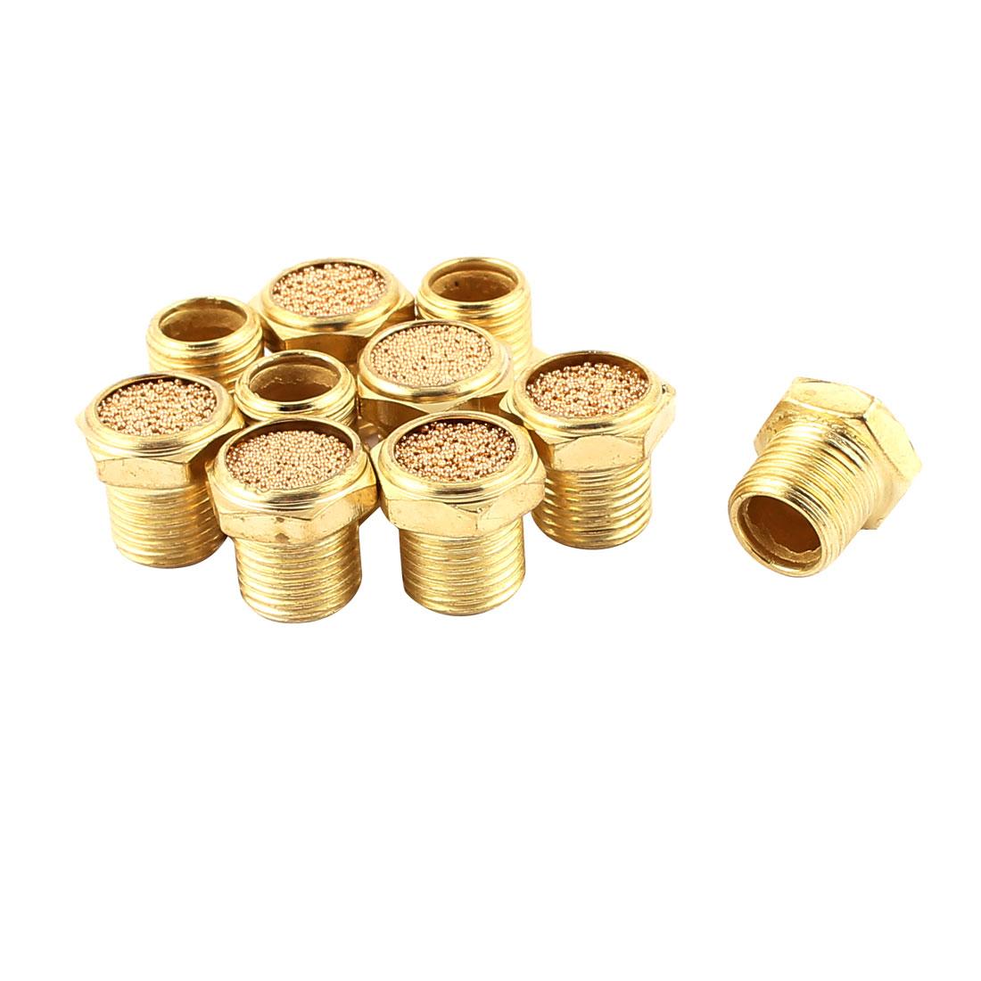 1/8BSP Male Thread Brass Air Pneumatic Noise Reduce Filter Exhaust Muffler 10Pcs