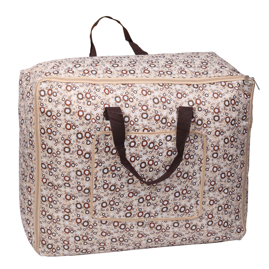 Circle Pattern Bed Sheets Quilt Duvet Storage Bag Beige Brown 55cm x 35cm