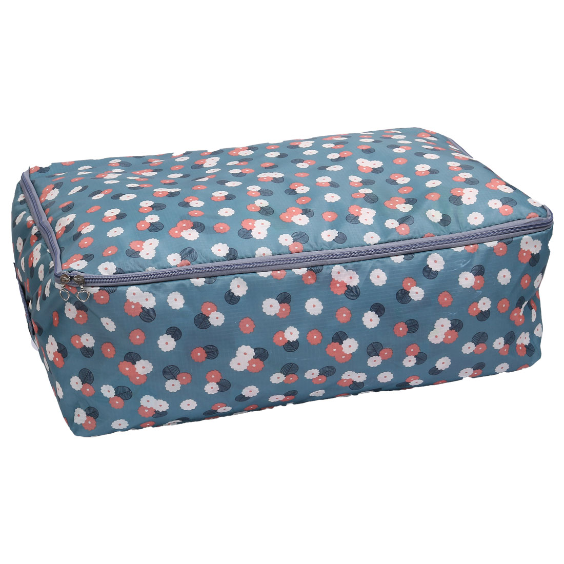 Flower Print Folding Clothes Quilts Sheet Bag Storage Organizer 58 x 40 x 22cm