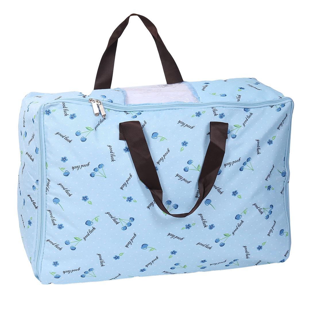 Home Floral Print Bed Sheets Quilt Duvet Storage Bag Container Blue 55cm x 35cm