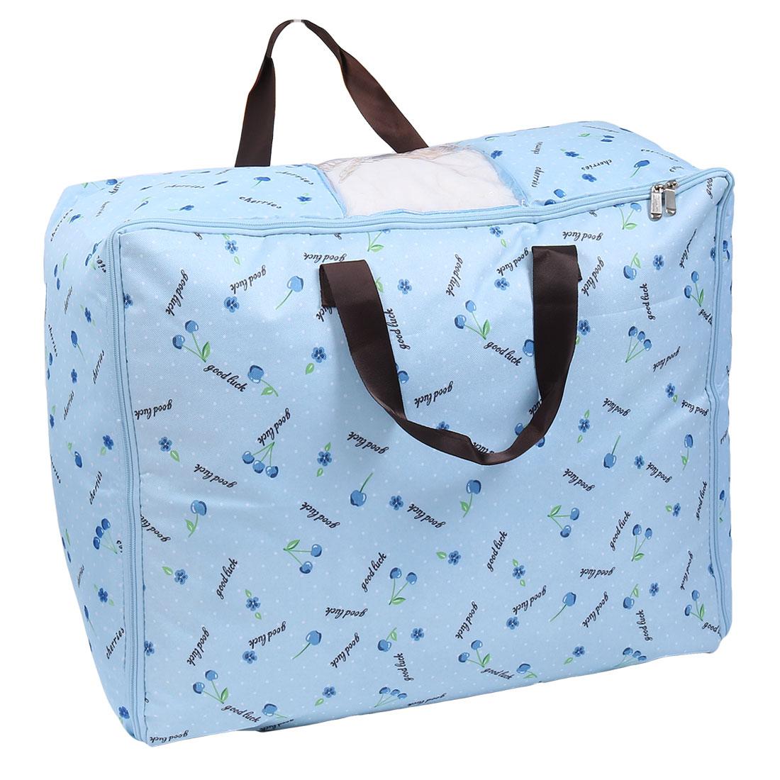 Floral Print Bed Sheets Quilt Duvet Storage Bag Container Blue 60cm x 48cm