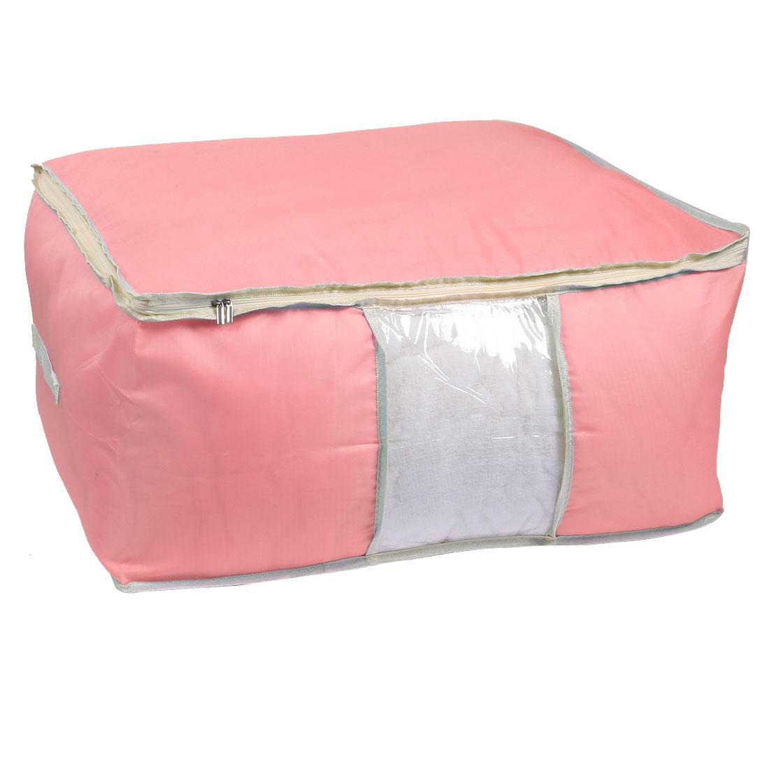 Home Zippered Clothes Coats Sheet Quilt Duvet Storage Bag Pouch Pink 55cm x 35cm
