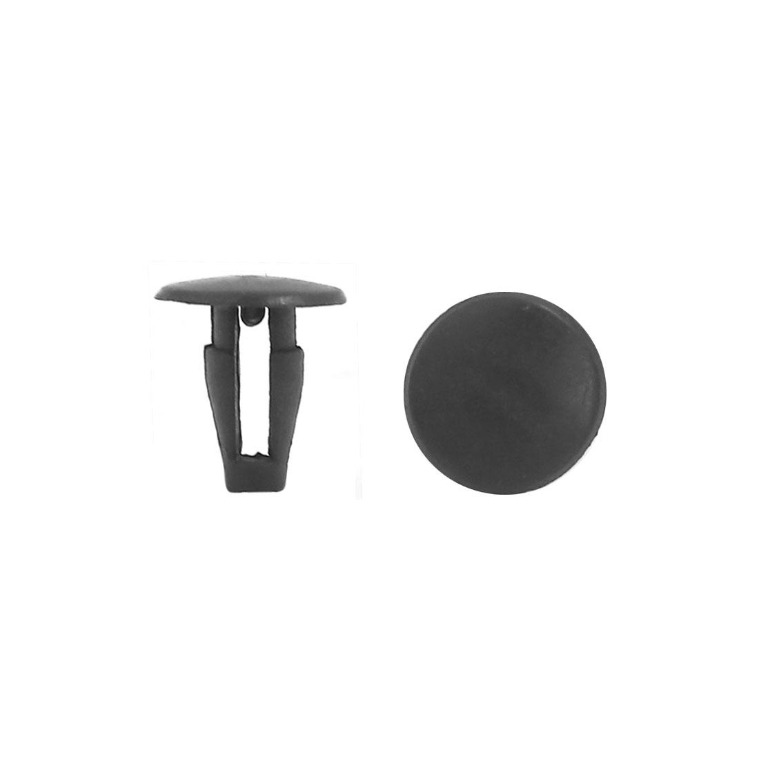 100 Pcs 7mm Hole Dia Black Plastic Rivets Fastener Push Clips for Automobile