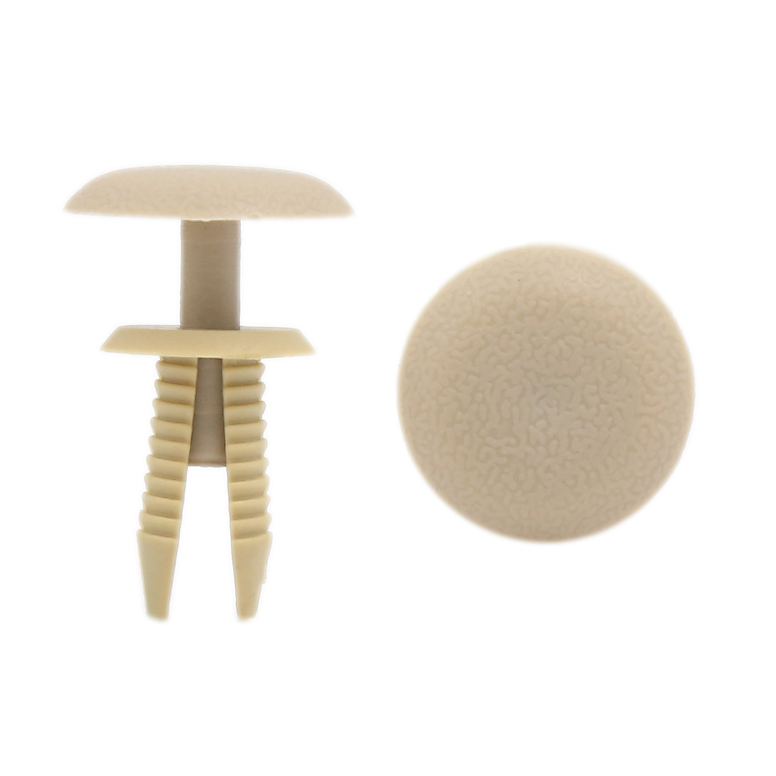 100 Pcs Beige Push in Type Plastic Rivets Fastener 9mm Dia for Car Bumper Fender