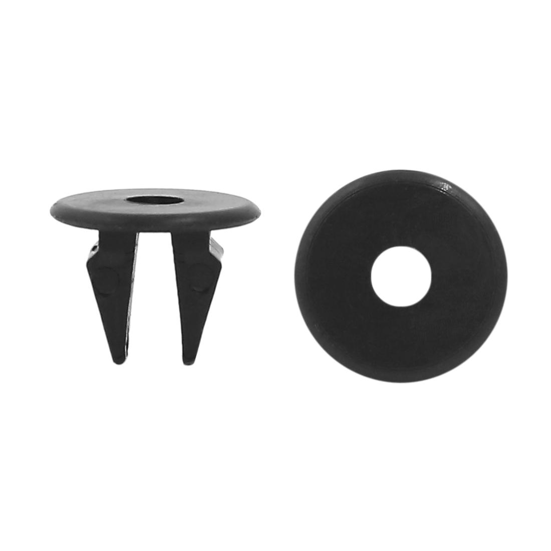 50Pcs 10mm Hole Dia Black Car Bumper Fender Square Plastic Rivets Retainer Clip