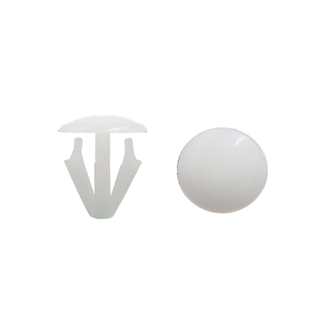 50Pcs White Car Vehicle Plastic Rivets Fastener Door Clips 15mm Hole Dia