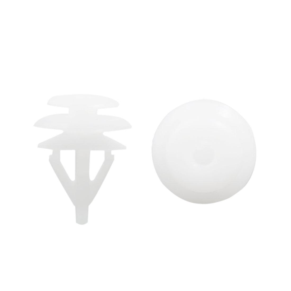 100Pcs 11mm Hole Dia Plastic Rivets Fastener Clips White for Car Auto Fender