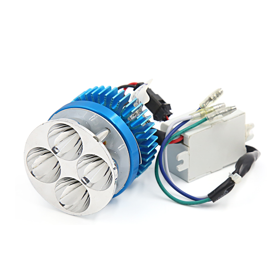 12V-80V 4 White LED Motorcycle Headlight Spotlight Lamp Blue Silver Tone