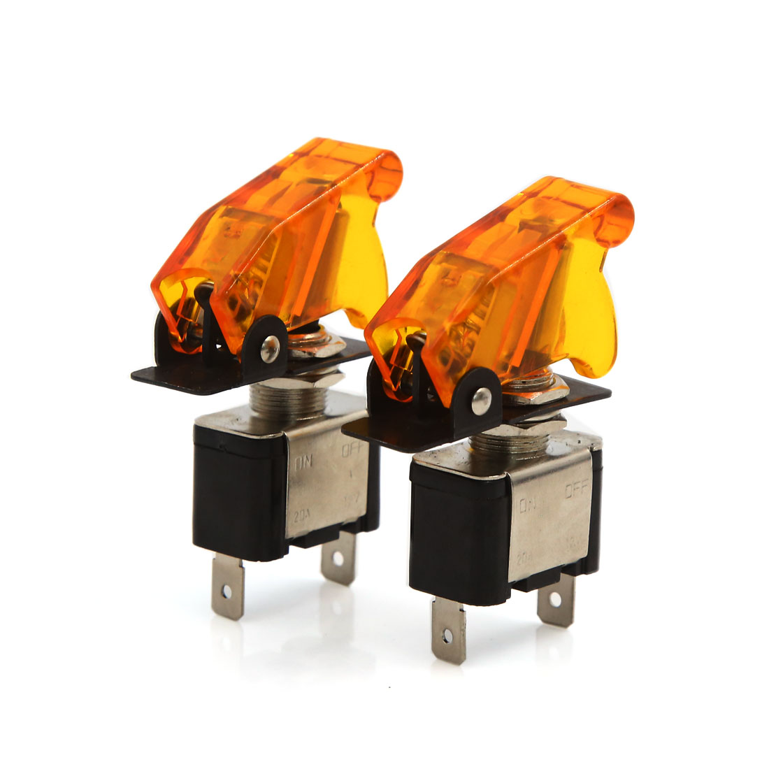DC 12V 20A Orange Safety Cover SPST Car Toggle ON/OFF Control Switch 2Pcs