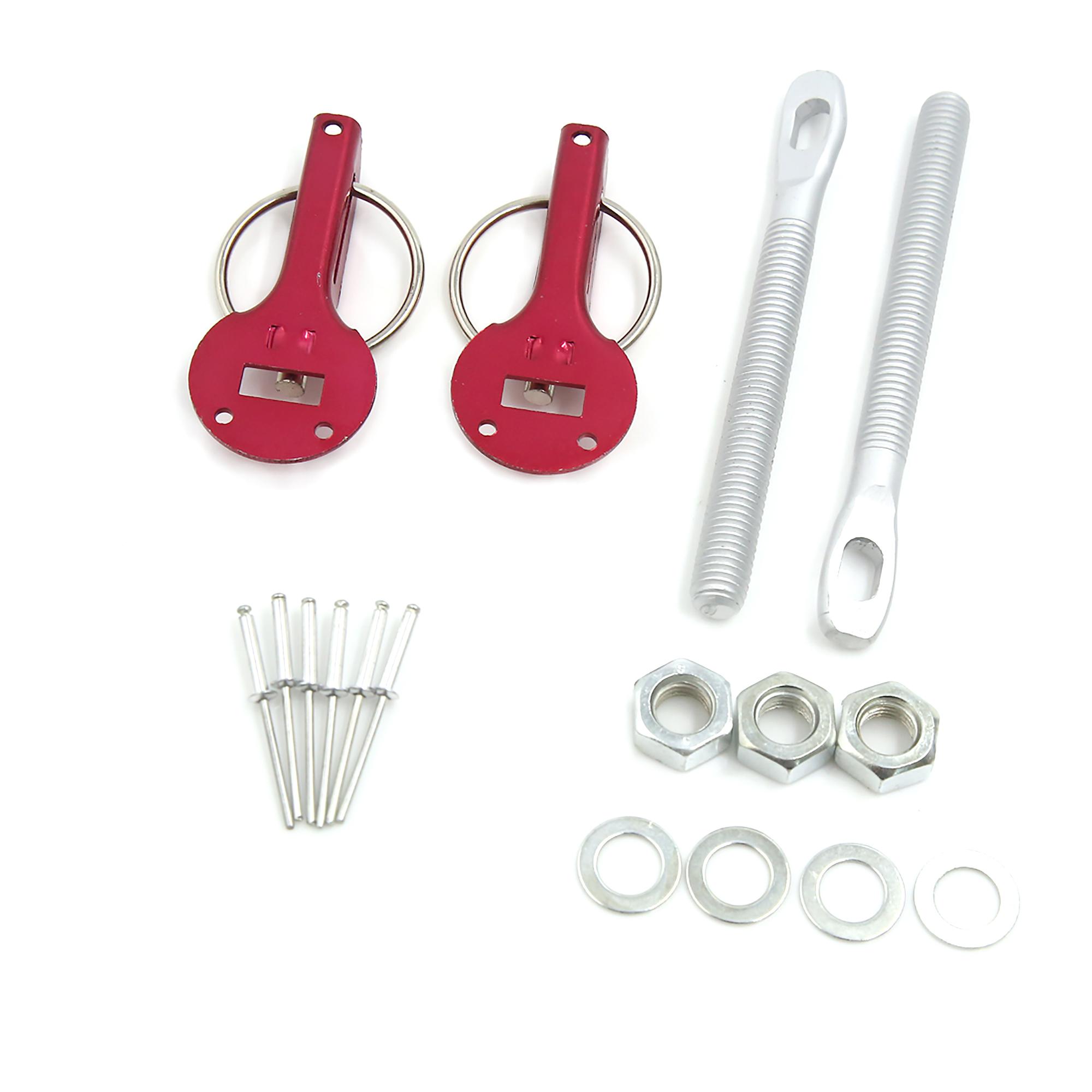 Universal Racing Car Aluminum Alloy Mount Clasp Hood Pin Lock Fastener Kit Red