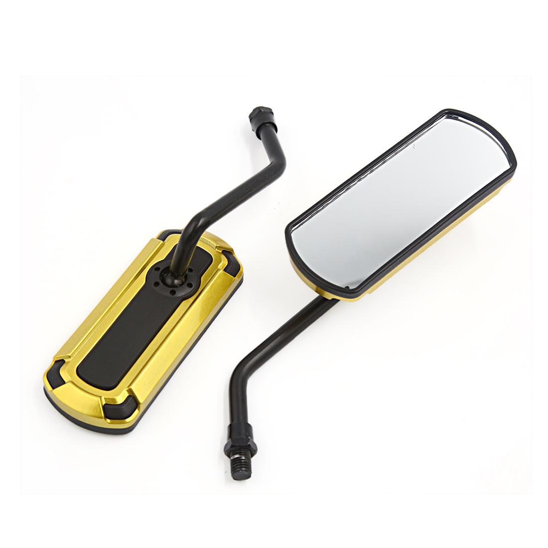 2pcs Gold Tone Aluminum Alloy Adjustable Motorcycle Rear View Mirror