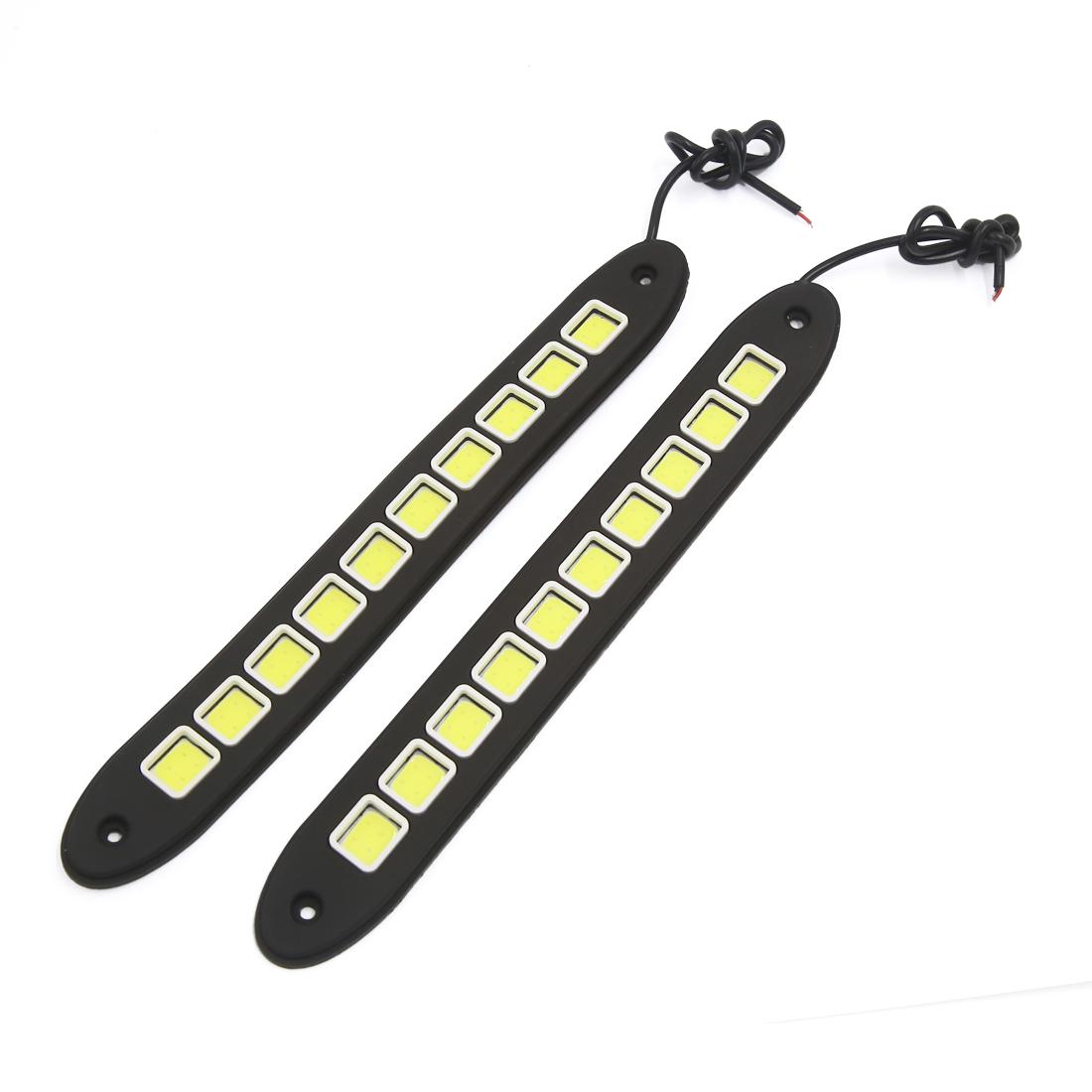 2 Pcs 10 LED Square Shaped COB Auto Car Daytime Running Light White DC 12V