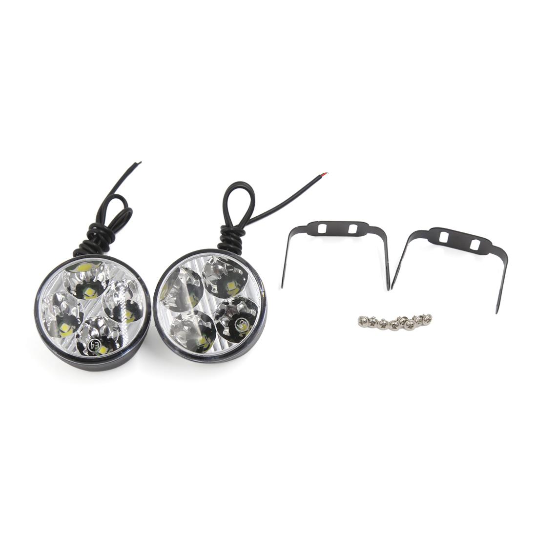 2PCS 4 LED Car DRL Driving Round Daytime Running Light Head Lamp