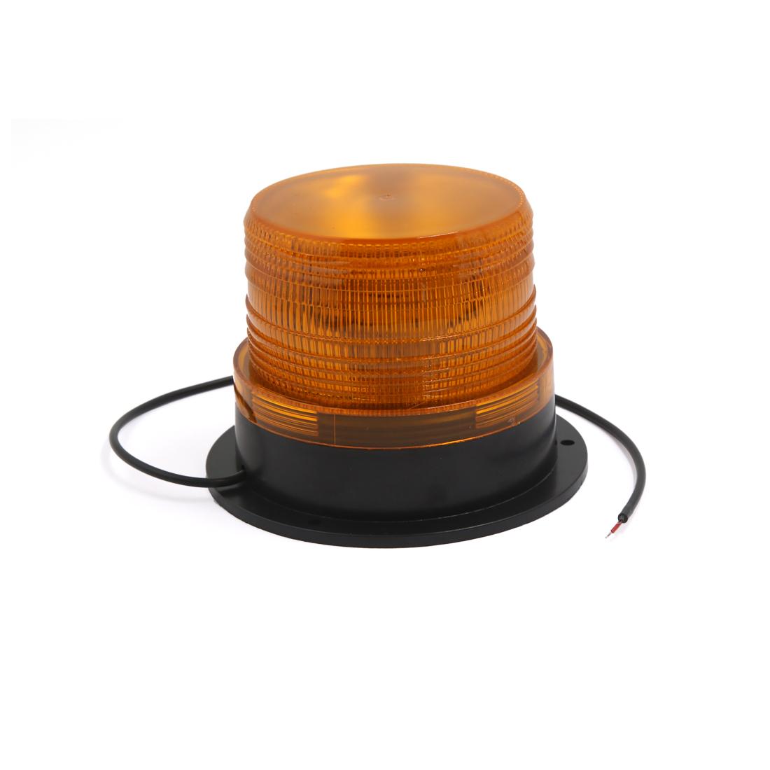 Car Bus Beacon Plastic Yellow Flash Strobe Light Emergency Warning Lamp DC 12V