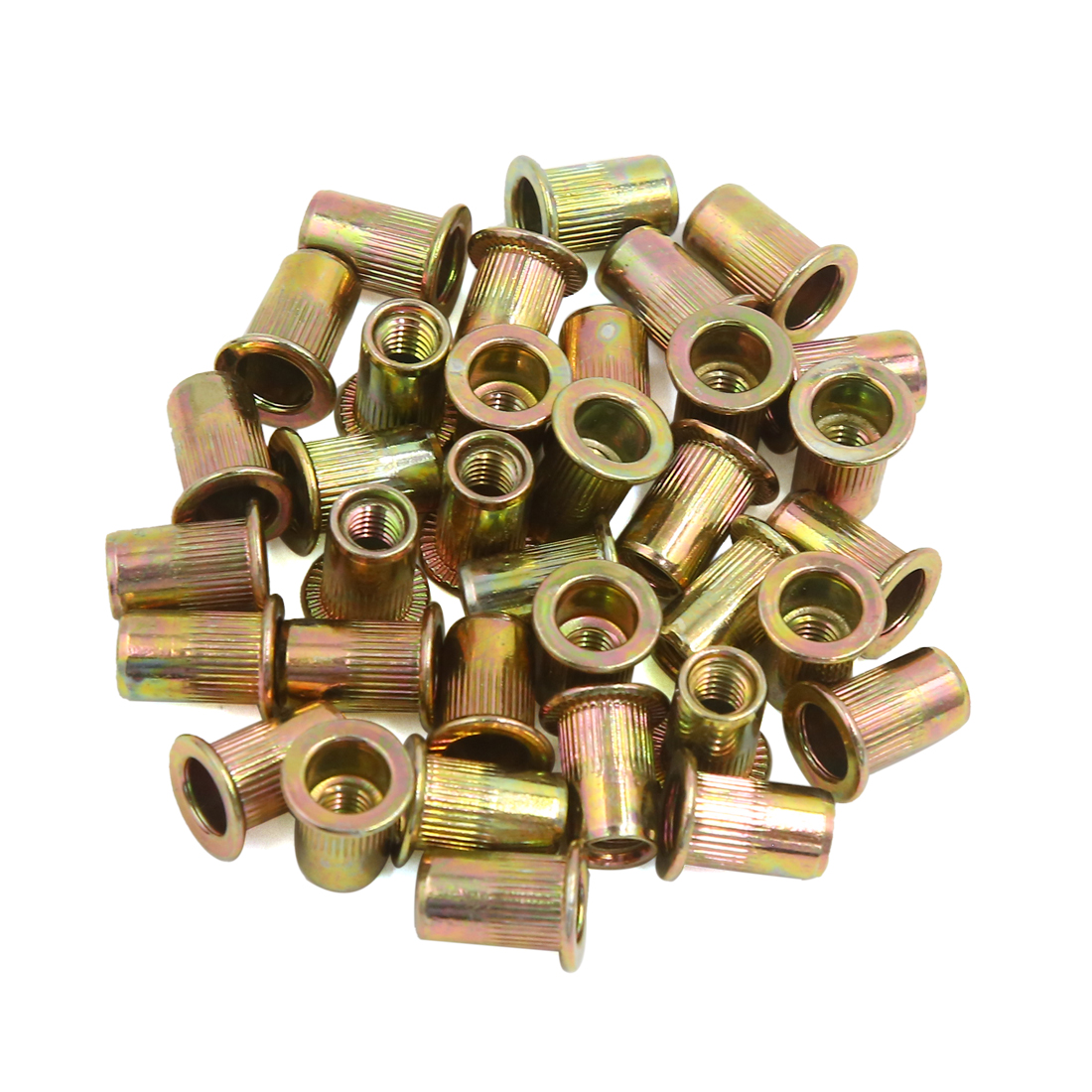 35pcs M6 Bronze Tone Car Carbon Steel Thread Flat Head Rivet Nut Insert Nutserts