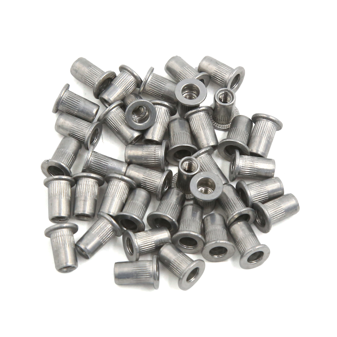 40 Pcs M4 Car Aluminum Alloy Thread Flat Head Rivet Nut Insert Nutserts