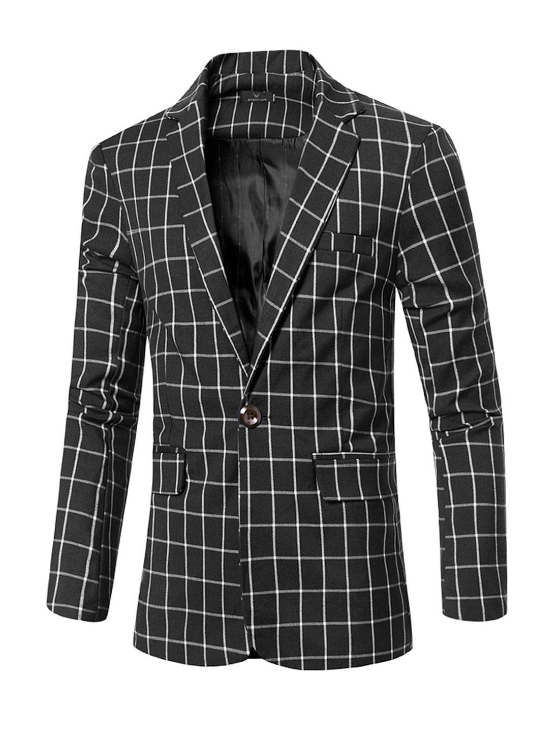 Men Notched Lapel Checks One-Button Pockets Blazer Black M