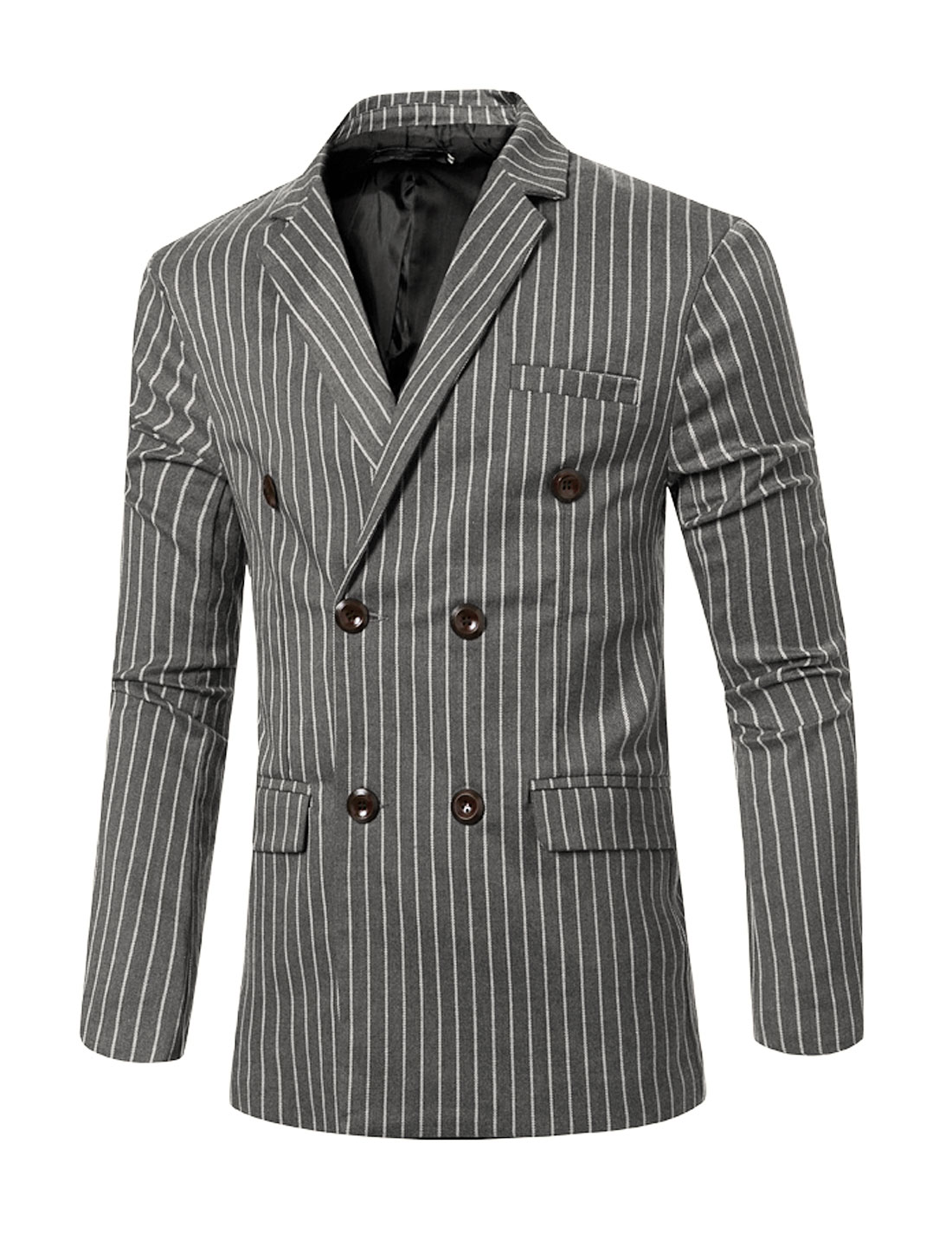 Men Padded Shoulder Double Breasted Striped Slim Fit Blazer Gray S