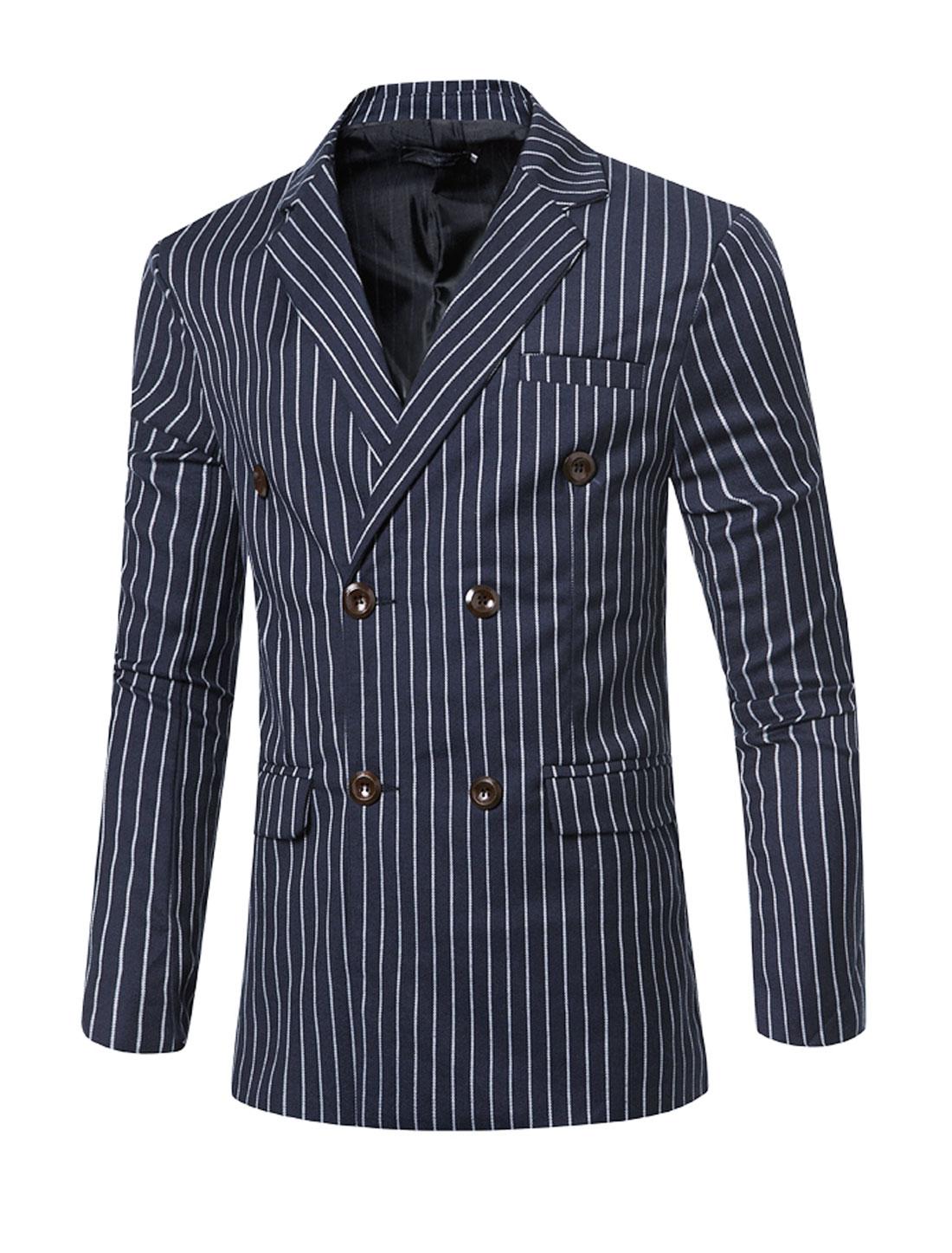 Men Padded Shoulder Double Breasted Striped Slim Fit Blazer Blue M