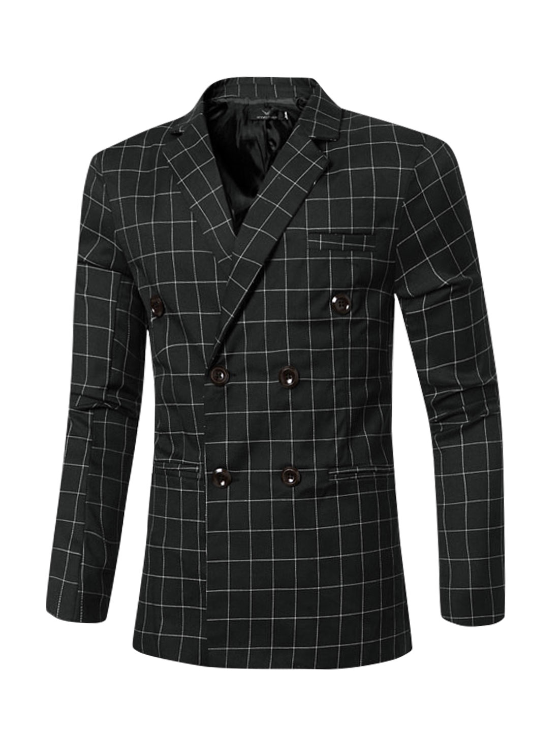 Men Notched Lapel Checks Double Breasted Split Back Blazer Black M