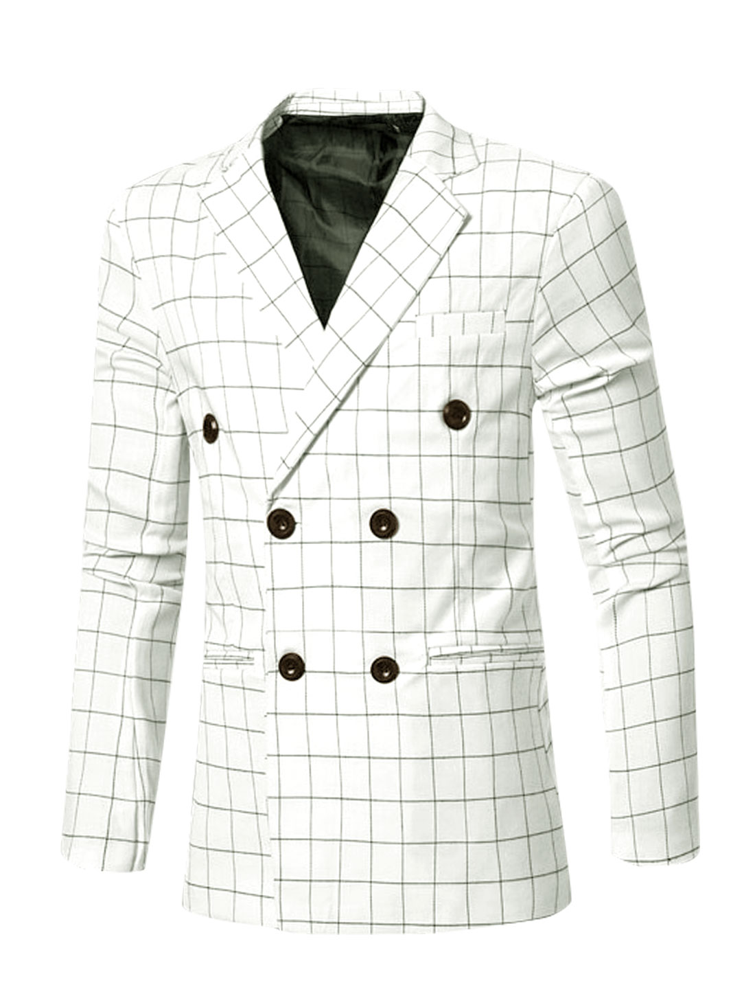 Men Notched Lapel Checks Double Breasted Split Back Blazer White M