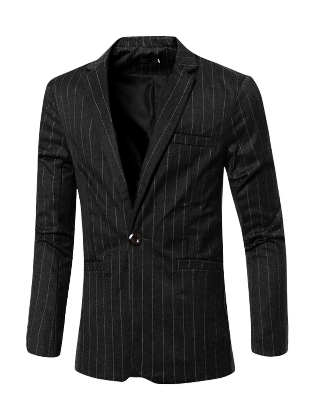 Men Notched Lapel Button Closed Stripes Slim Fit Blazer Black M