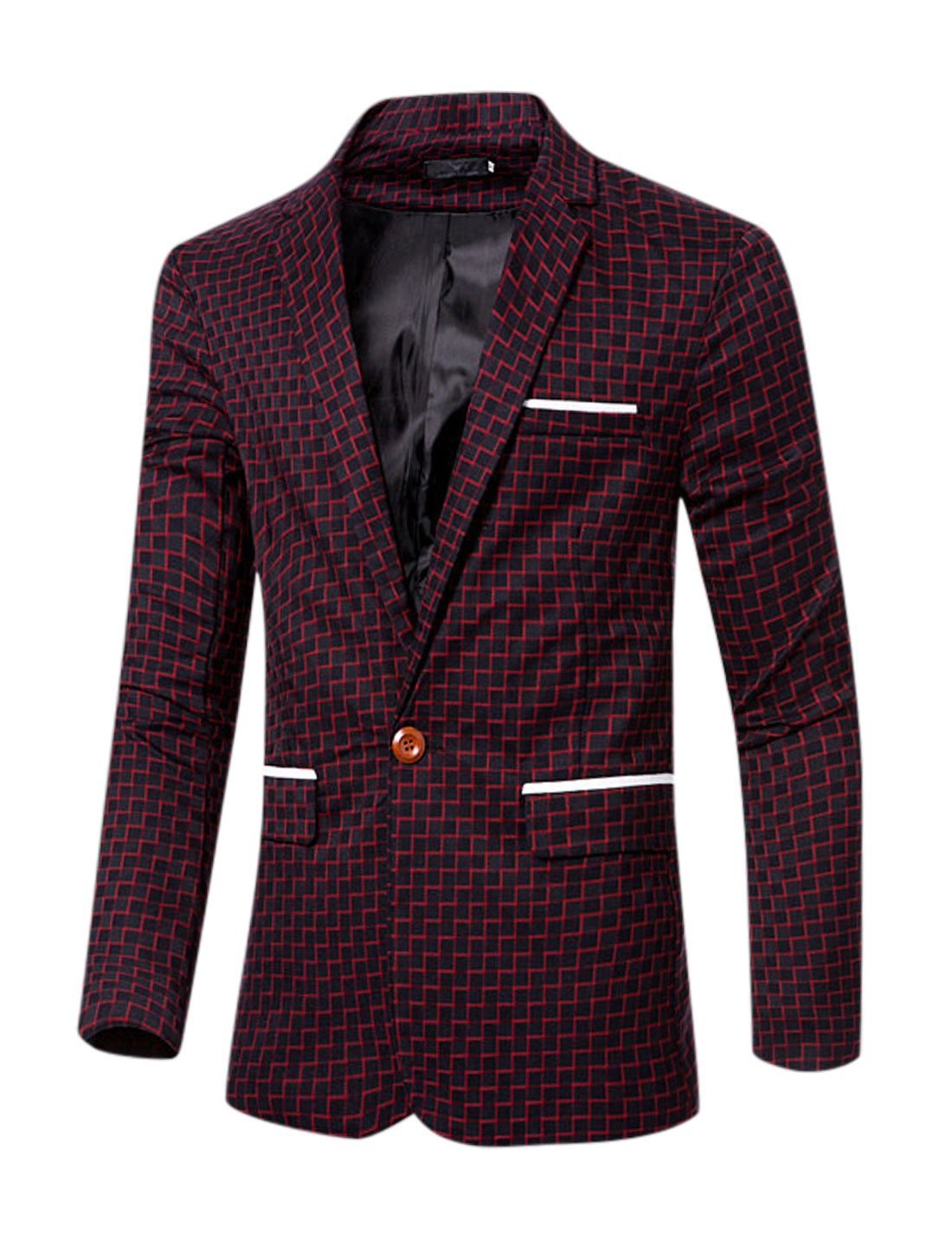 Men Notched Lapel Plaids Split Back One-Button Blazer Red M
