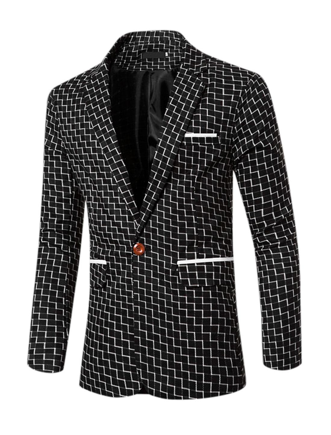 Men Notched Lapel Plaids Split Back One-Button Blazer Black M
