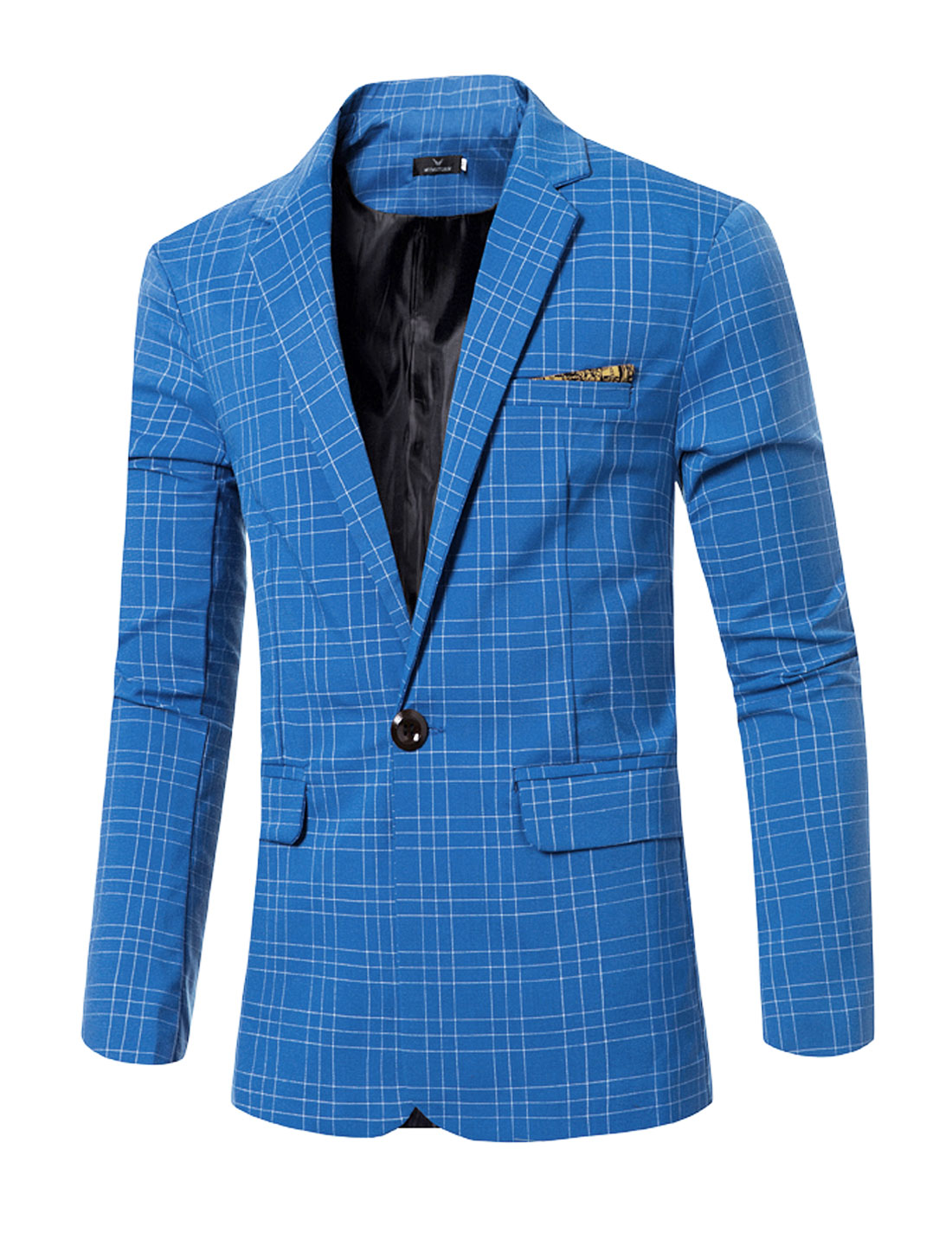 Men Notched Lapel Flap Pockets Checks One-Button Blazer Blue S