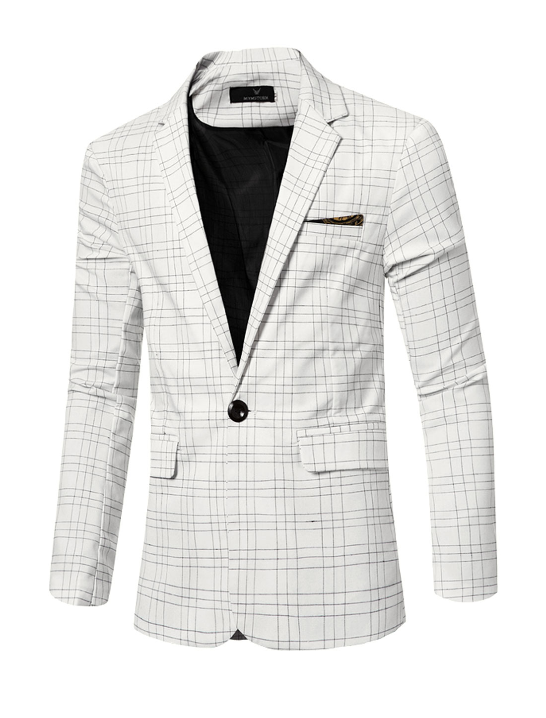 Men Notched Lapel Flap Pockets Checks One-Button Blazer White M
