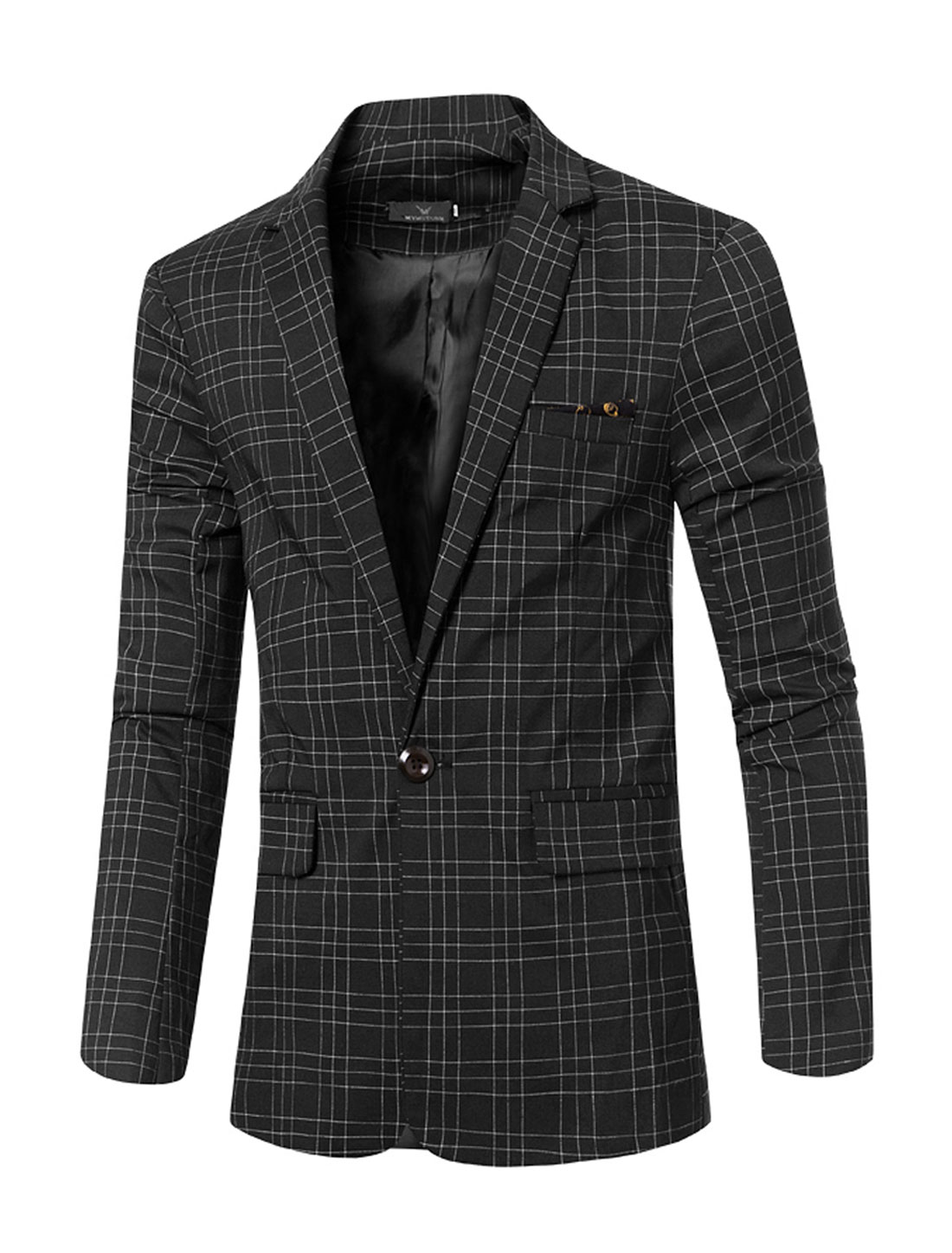 Men Notched Lapel Flap Pockets Checks One-Button Blazer Black M