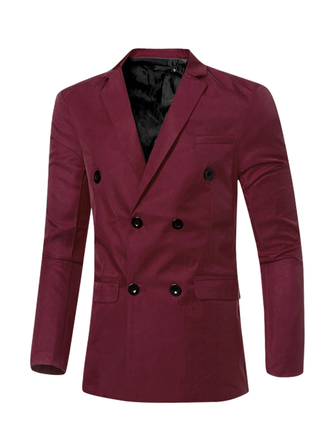 Men Notched Lapel Flap Pockets Double Breasted Blazer Burgundy S