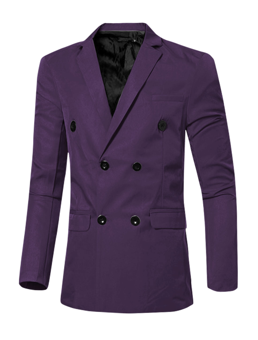 Men Notched Lapel Flap Pockets Double Breasted Blazer Purple S