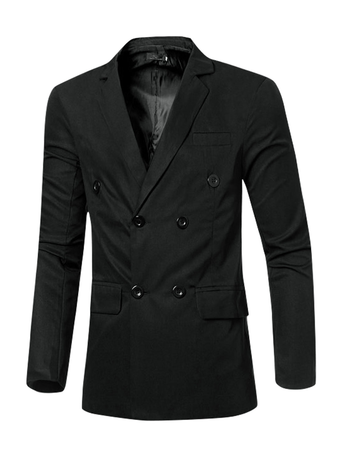 Men Notched Lapel Flap Pockets Double Breasted Blazer Black M