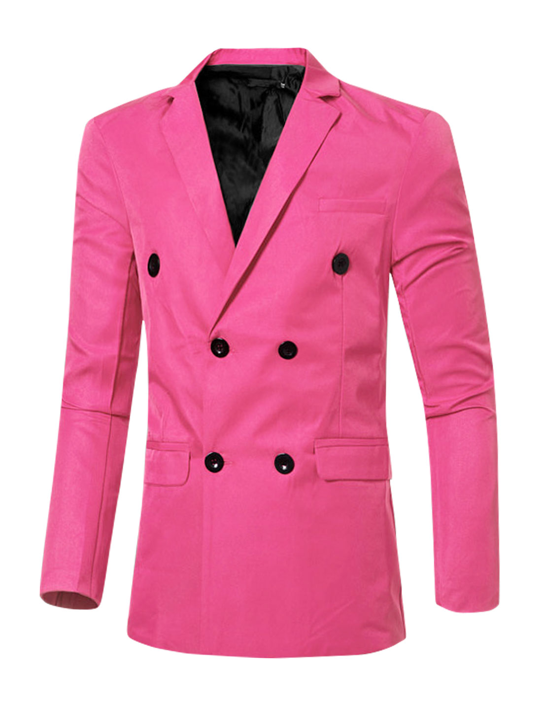 Men Notched Lapel Flap Pockets Double Breasted Blazer Pink M